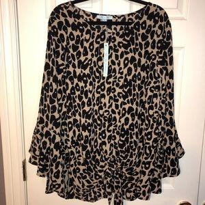Tops - Leopard print tie front bell sleeves top